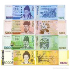 Billetes extranjeros: COREA DEL SUR SET 4 PCS 1000 5000 10000 50000 WON 2006 2009 PICKS 54 A 57 SC / UNC. Lote 287233028