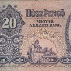 Billets internationaux: HUNGRIA - 20 PENGO DE 1941. Lote 287353978