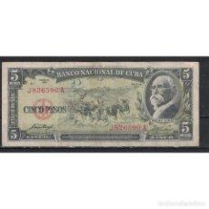 Billetes extranjeros: BO1958-5-2 CUBA 1958 CINCO PESO. Lote 287508583