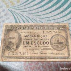 Billetes extranjeros: BANCO NACIONAL DE ULTRAMARINO MOÇAMBIQUE UM ESCUDO 23 DE MAYO DE 1944. Lote 287614143