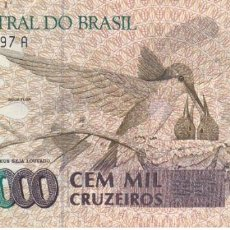 Billetes extranjeros: BILLETE DE BRASIL DE 100000 CRUZEIROS - COLIBRI-MARIPOSA. Lote 287670033