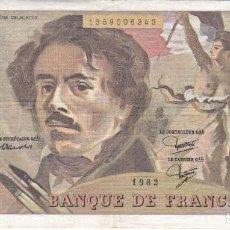 Billets internationaux: BILLETE DE FRANCIA DE 100 FRANCOS DEL AÑO 1982 DE DELACROIX. Lote 287680123