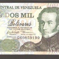 Billetes extranjeros: 1 BILLETE DE VENEZUELA DE 2000 BOLIVARES 1998 PLANCHA. Lote 287746203