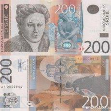Billetes extranjeros: SERBIA 200 DINARA 2011 P 58A PREFIJO 'AA' UNC. Lote 287903378