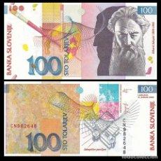 Billetes extranjeros: SLOVENIA 100 TOLARJEV 2003 P 31 UNC. Lote 287904508