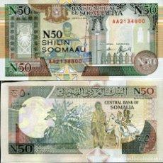 Billetes extranjeros: SOMALIA 50 SHILLINGS 1991 P R2 REPLACEMENT PREFIX X0 UNC. Lote 287904633