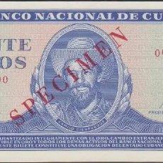 Billetes extranjeros: CUBA 20 PESOS 1971. SPECIMEN. PICK 105S. CAMILO CIENFUEGOS. SIN CIRCULAR. Lote 288153658