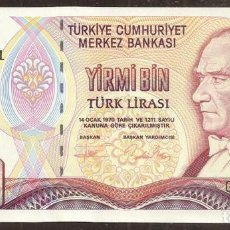 Billetes extranjeros: TURQUIA. 20000 LIRAS L.1970 (1995). SERIE G. PICK 202. FIRMAS EN ROJO.. Lote 288156143