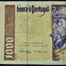 Billetes extranjeros: PORTUGAL 1000 ESCUDOS 1996. PICK 188. Lote 288157128