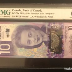 Billetes extranjeros: MEJOR BILLETE DEL MUNDO 2018 10 DOLLARS CANADA PMG 66. Lote 288408283