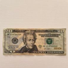Billetes extranjeros: BILLETE 20 DÓLARES ESTADOUNIDENSES 2013. Lote 288649438