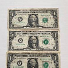 Billetes extranjeros: TRES BILLETES DE 1 DÓLAR ESTADOUNIDENSE 2013. Lote 288649863