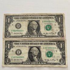 Billetes extranjeros: 2 BILLETES DE UN DÓLAR ESTADOUNIDENSE 2006. Lote 288650488