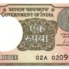Billetes extranjeros: BILLETE DE LA INDIA DE 1 RUPIA EN PERFECTO ESTADO. Lote 288651068