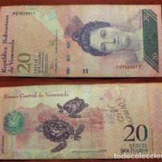 Billetes extranjeros: BILLETE DE VENEZUELA 20 BOLIVARES 2009 CIRCULADO. Lote 288747083