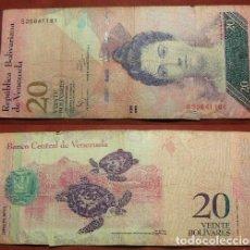 Billetes extranjeros: BILLETE DE VENEZUELA 20 BOLIVARES 2011 CIRCULADO. Lote 288747138