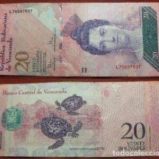 Billetes extranjeros: BILLETE DE VENEZUELA 20 BOLIVARES 2009 CIRCULADO. Lote 288747148