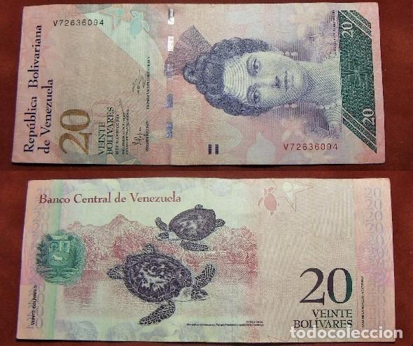 BILLETE DE VENEZUELA 20 BOLIVARES 2014 CIRCULADO (Numismática - Notafilia - Billetes Internacionales)