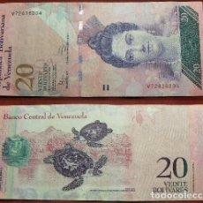 Billetes extranjeros: BILLETE DE VENEZUELA 20 BOLIVARES 2014 CIRCULADO. Lote 288747188