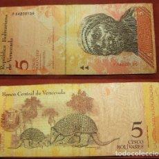 Billetes extranjeros: BILLETE DE VENEZUELA 5 BOLIVARES 2011 CIRCULADO. Lote 288747373