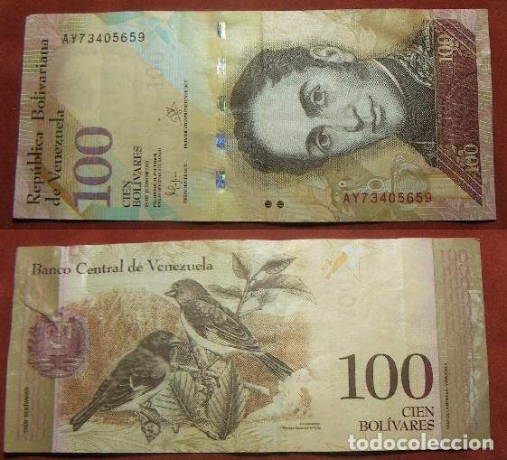 BILLETE DE VENEZUELA 100 BOLIVARES 2015 CIRCULADO (Numismática - Notafilia - Billetes Internacionales)