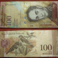 Billetes extranjeros: BILLETE DE VENEZUELA 100 BOLIVARES 2015 CIRCULADO. Lote 288747433