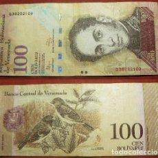 Billetes extranjeros: BILLETE DE VENEZUELA 100 BOLIVARES 2012 CIRCULADO. Lote 288747443