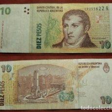 Billetes extranjeros: BILLETE DE ARGENTINA 10 PESOS CIRCULADO. Lote 288748473