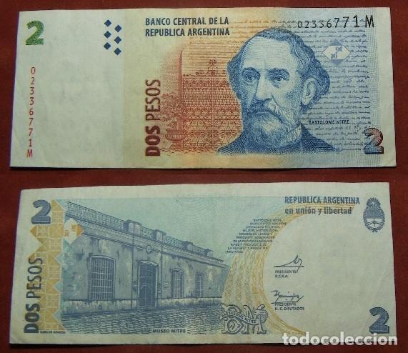 BILLETE DE ARGENTINA 2 PESOS CIRCULADO (Numismática - Notafilia - Billetes Internacionales)
