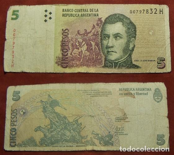 BILLETE DE ARGENTINA 5 PESOS CIRCULADO (Numismática - Notafilia - Billetes Internacionales)