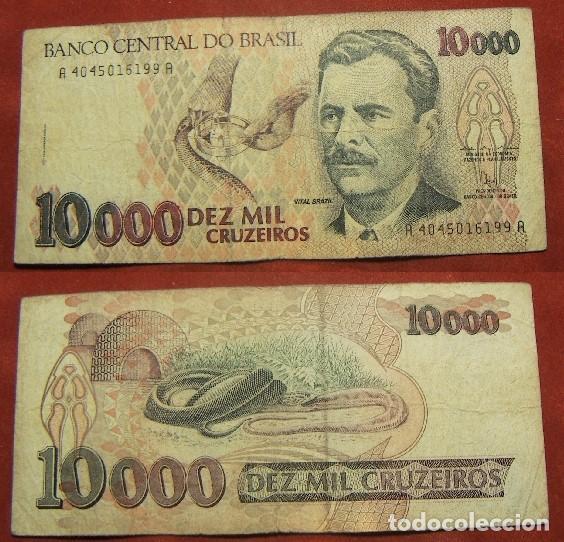 BILLETE DE BRASIL 10000 CRUZEIROS CIRCULADO (Numismática - Notafilia - Billetes Internacionales)