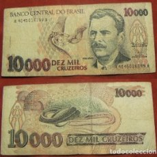 Billetes extranjeros: BILLETE DE BRASIL 10000 CRUZEIROS CIRCULADO. Lote 288748678