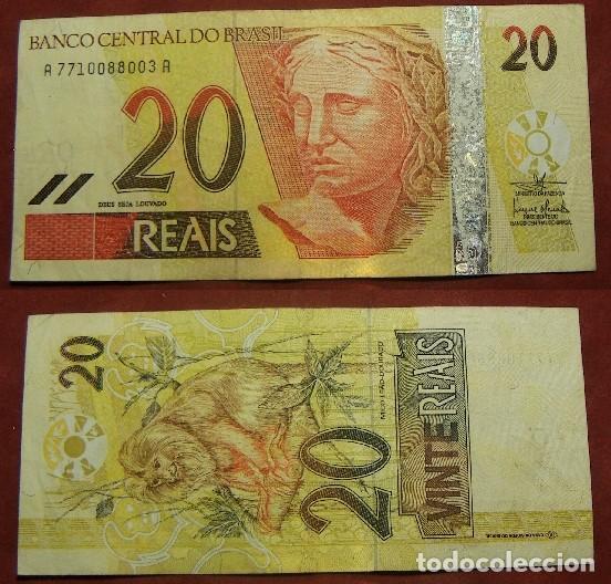 BILLETE DE BRASIL 20 REALES CIRCULADO (Numismática - Notafilia - Billetes Internacionales)