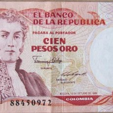 "Billetes extranjeros: COLOMBIA 100 PESOS ORO 1986 PICK 426C.2 - EBC+ - 12.10.1986- ""1982-1992"". Lote 288948798"