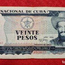 Billetes extranjeros: BILLETE CUBA 20 PESOS 1991 MBC ORIGINAL T677. Lote 288949663