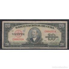 Billetes extranjeros: CUBA 1949 VEINTE PESO 20 PESO KM# VG. Lote 289940148