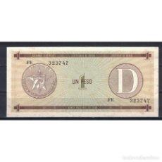 Billetes extranjeros: CUBA 1985 UN PESO - CERTIFICATE D 1 PESO KM# AUNC. Lote 289950343