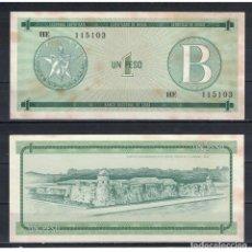 Billetes extranjeros: CUBA 1985 UN PESO - CERTIFICATE B 1 PESO KM# XF. Lote 289950358