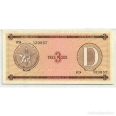 Billetes extranjeros: CUBA 1985 TRES PESO - CERTIFICATE D 3 PESO KM# XF. Lote 289950363