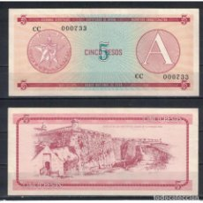 Billetes extranjeros: CUBA 1985 CINCO PESO - CERTIFICATE A 5 PESO KM# UNC. Lote 289950368