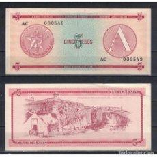 Billetes extranjeros: CUBA 1985 CINCO PESO - CERTIFICATE A 5 PESO KM# AUNC. Lote 289950373