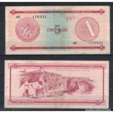 Billetes extranjeros: CUBA 1985 CINCO PESO - CERTIFICATE A 5 PESO KM# VF. Lote 289950383