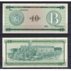 Billetes extranjeros: CUBA 1985 DIEZ PESO - CERTIFICATE B 10 PESO KM# AUNC. Lote 289950413