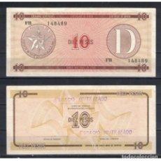 Billetes extranjeros: CUBA 1985 DIEZ PESO - CERTIFICATE D 10 PESO KM# AUNC. Lote 289950418
