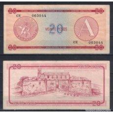 Billetes extranjeros: CUBA 1985 VEINTE PESO - CERTIFICATE A 20 PESO KM# XF. Lote 289950438