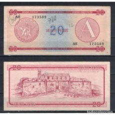 Billetes extranjeros: CUBA 1985 VEINTE PESO - CERTIFICATE A 20 PESO KM# VF. Lote 289950443