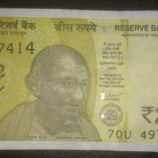 Billetes extranjeros: INDIA 20 RUPEES 2020 7OU 497414. Lote 290135968