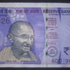 Billetes extranjeros: INDIA 100 RUPEES 2019 6DD 989426. Lote 290136358