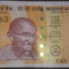 Billetes extranjeros: INDIA 200 RUPEES 2019 5AN 989063. Lote 290137318