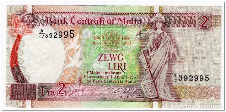 MALTA,2 LIRI,L.1967 (1994),P.45,F-VF (Numismática - Notafilia - Billetes Internacionales)